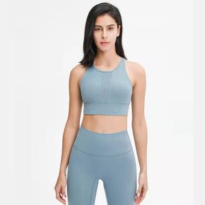 2021 New sexy mesh stitching high neck sports bra cross back Yoga bra Underwear